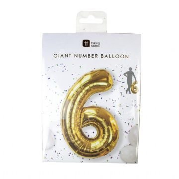Giant Gold Foil Number Balloon - 6